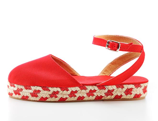 Sandalias Peregrina1 trenzado bicolor rojo lateral