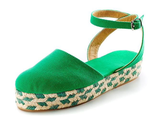 Sandalias Peregrina1 trenzado bicolor verde