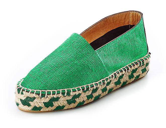 Alpargatas Caravaca lona, trenzado bicolor. Verde